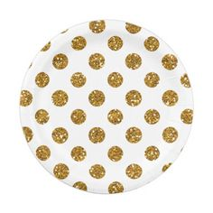 Fun gold glitter polka dots pattern on a white solid color background. GraphicsByMimi ©. Use to create your own one of a kind gift for you or your friends and family by personalizing it with your name, monogram, text or photo or leave as. Other colors and styles available in our store at www.zazzle.com/GraphicsByMimi. Glitter is a printed photo effect only.