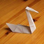 origami swan. Ugly duckling craft
