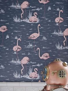 The charming Flamingos remains one of Cole and Son's most popular wallpaper designs, with its nonchalant birds and subtle background foliage. Flamingo Wallpaper, Bathroom Wallpaper, Of Wallpaper, Designer Wallpaper, Wallpaper Designs, Bird Wallpaper Bedroom, Feature Wallpaper, Wallpaper Online, Wallpaper Ideas