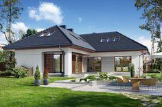 Na Miarę 1 - wizualizacja 2 - Nowoczesny projekt domu z kuchnią od frontu Dream House Plans, Modern House Plans, Small House Plans, Modern House Design, Modern Bungalow House, Southern House Plans, Southern Living, Small Modern Home, Modern Farmhouse Exterior