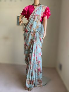 Indian ethnic wear at best prices , ships from USA ! Saree Jacket Designs, Pattu Saree Blouse Designs, Half Saree Designs, Fancy Blouse Designs, Bridal Blouse Designs, Designs For Dresses, Latest Saree Blouse Designs, Cutwork Saree, Organza Saree