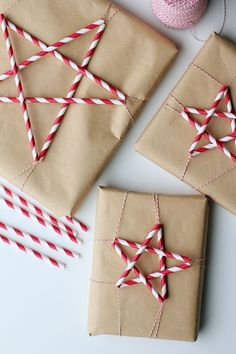 Find out how to mimic these creative Christmas gift wrapping ideas from some of our favorite crafters. Creative Christmas Gifts, Diy Holiday Gifts, Christmas Gift Wrapping, Noel Christmas, Christmas Crafts, Christmas Hacks, Christmas Paper, Christmas Items, Drinking Straw Crafts