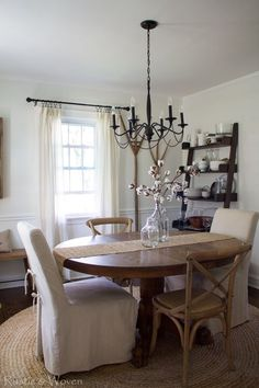 Fall Dining Room And A Not So New Rug  Rustic Home Decor Awesome Jute Rug In Dining Room Inspiration