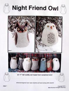 Owl pdf Pattern Tutorial Night Friend SALE!