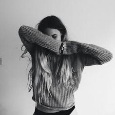 Imagem de girl, black and white, and hair