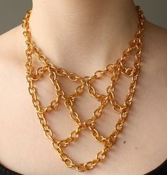 Chunky Chain Necklace Gold Chain Bib Necklace by powderandjade, $19.00