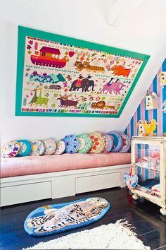 Beautifully textured nursery in artist Tina Seidenfaden Busck's Copenhagen home.