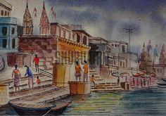 $149 USD.Original watercolor painting of Benares Ghat: Original handmade painting of a Ghat in Varanasi.