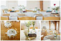Décoration mariage, centre de table livres Wedding deco books table
