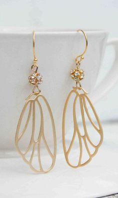 Lace Fairy Wing EARRINGS Gold Rhinestone