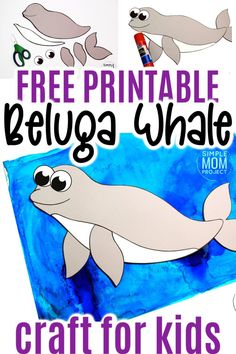 This easy beluga whale craft is fun for kids of all ages including preschoolers and kindergartners! With the free printable beluga whale template, these make the perfect Sunday school bible lesson when teaching of Jonah and the Whale #belugawhalecrafts #whalecrafts #oceananimals #arcticanimalcrafts #SimpleMomProject Ocean Animal Crafts, Whale Crafts, Ocean Crafts, Animal Crafts For Kids, Winter Crafts For Kids, Printable Crafts, Free Printable, Sea Creatures Crafts, Easy Preschool Crafts