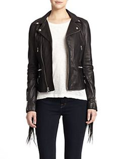 BLK DNM - Fringe Leather Moto Jacket