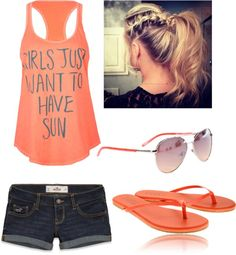 """Summer Time!!!:)"" by audrie-mccabe <span class=""EmojiInput mj40"" title=""Heavy Black Heart""></span> liked on Polyvore"