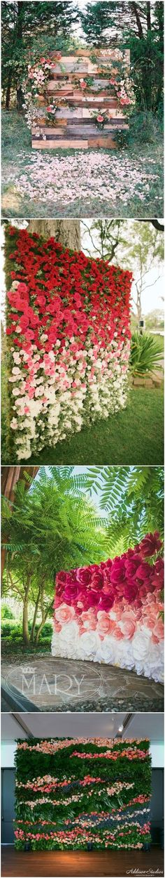 22 Trending Flower Wall Backdrops for Your Wedding Day! Trendy Wedding, Floral Wedding, Wedding Colors, Wedding Flowers, Dream Wedding, Wedding Day, Wedding Dress, Wedding Stuff, Flower Wall Backdrop