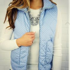 Pretty blue; I like the idea of trying a vest, this outfit is cute!  Love the necklace too
