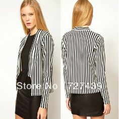 New Arrival Spring Autumn Fall Office Lady Fashion Black And White Suit Stripe Blazer Long-sleeve Plus Size Coat #053 $23.36