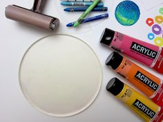 Gelli Printing with Wax Crayon Resist  Once you've prepared your waxy marks on your paper, you're ready to print. This fun technique will work nicely with any size Gelli plate. Using the round plate adds its own design element to your final print!
