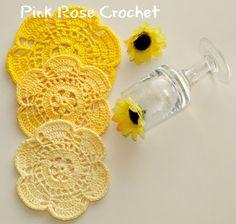 Pink Rose Crochet: Flor Amarela Centrinhos Porta Copos Coasters