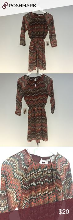 Forever 21 Contemporary Printed Rust Dress NWT- perfect condition Forever 21 Dresses