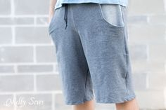 Close up - Sew Mens Shorts Tutorial - with drawstring and pockets - Melly Sews