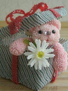 Beaded Bow Box and Bear . #beaded . bisirinka.net    **pic