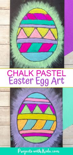 This chalk pastel Easter egg art is a wonderful Easter activity that kids will love to create! Kids will learn about using glue as a resist technique and blending pastels to create a bright and colorful art project. Easter Arts And Crafts, Bunny Crafts, Easter Crafts For Kids, Kid Crafts, Spring Crafts, Easter Ideas, Art Activities For Kids, Easter Activities, Art For Kids