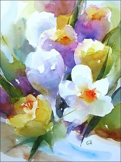 Crocuses Original Watercolor Painting 9x12 inches by CMwatercolors