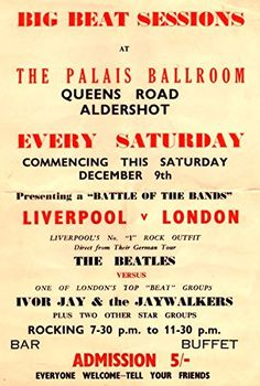 """Battle Of The Bands - The Beatles vs Ivor Jay & The Jaywalkers."" Fantastic A4 Glossy Art Print Taken from A Vintage Concert Poster by Design Artist http://www.amazon.co.uk/dp/B0155ZRXWM/ref=cm_sw_r_pi_dp_MWs8vb13EFADC"