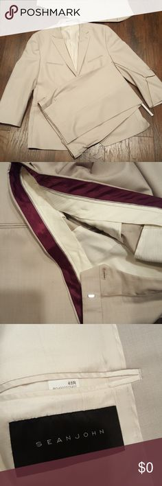 Cream Suit! 8.5/10 condition. Suit is cream or off white.. very light material. Its a Sean John so well made.. the only flaw is you can see marks on the belt line, but with a belt on.. you will not notice! Suit go great with bright colors!! Price to sell.. Pants are 36/31 ish.. Nicely Priced!! Sean John Suits & Blazers Suits