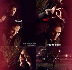 "S5 Ep19 ""Man on Fire"" Damon and Elena"