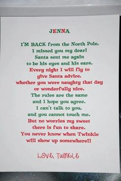 Elf welcome back letter