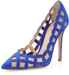 $995, Blue Cutout Suede Pumps: Gianvito Rossi Suede Tulle Cutout Pump Royal Blue. Sold by Neiman Marcus.