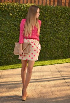Skirt with the shirt color dots . Always matching | Gloss Fashionista