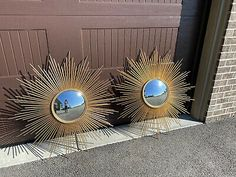 Global Views Large Sunray Starburst Mirror Gold Midcentury Modern 40"