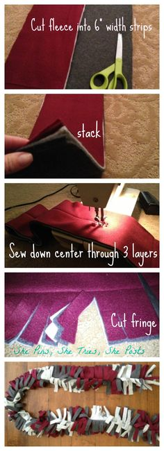 DIY scarf. Fun idea for kids to make for their friends. How about school colors!
