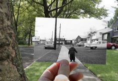 I love this idea of taking a picture with an old picture in the same place that the old picture was taken.