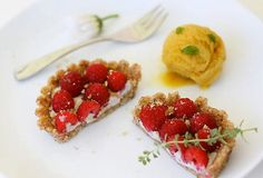 A classic example of Kassoff's cooking style, the seemingly traditional summer desserts of berry tarts and peach sorbet are made with no-bake and no-cook techniques. They will surely impress even the most skeptical guest.