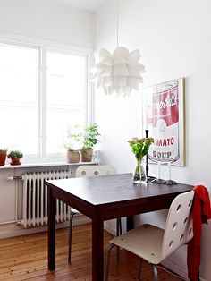 campbell's soup + KNAPP pendant lamp from IKEA, {also from IKEA 'Jules' visitor chair in white/silver, 'Bjursta' dining table in brown, 'Fridfull' plant pot}