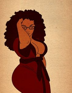 fatpeopleofcolor:    roropcoldchain:    I need to get a wrap dress in my life.    [Image Description: A drawing of a fat woman of color with glasses and eyes closed, one hand in her hair and the other behind her. Her hair is long, brown, and curly. She is wearing a maroon wrap dress that is coming undone showing a good amount of cleavage. The background is tan with a gradient feathering away from the woman in the center. ]
