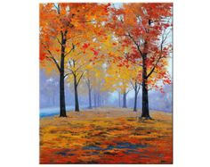 Red AUTUMN OIL PAINTING Palette Knife fall by GerckenGallery