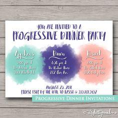 Progressive Dinner Invitation- Party Announcement Card ...