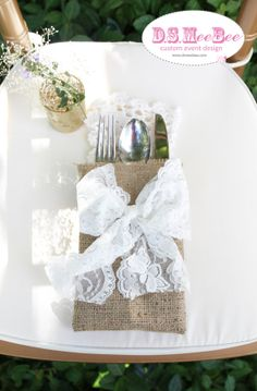 Rustic Shabby Chic Burlap Utensil Bag with Lace Bow by DSMeeBee, $3.00
