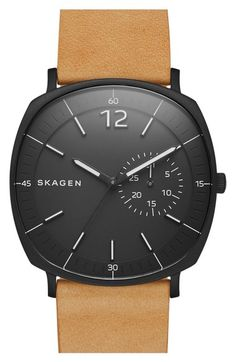 Skagen 'Rungsted' Leather Strap Watch, 40mm available at #Nordstrom