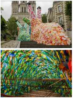 Not exactly nature, but it is impressive installation art and is raising awareness to our massive plastic bag problem. Florentijn Hofman: Giant slugs made of 40 000 plastic bags.