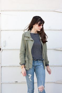 Wardrobe Basics - Jeans and a Teacup Green Cargo Jacket, Green Coat, French Girl Style, My Style, Wardrobe Basics, Ethical Fashion, Striped Tee, Maternity Fashion, Teacup