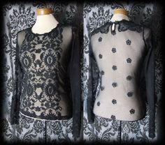Gothic Black Sheer Lace Detail VICTORIAN GOVERNESS Blouse 6 8 Romantic Vintage - £29.00