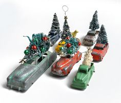 Vintage Toy car, Tootsietoy, Diecast Metal car, green pickup truck with bottle brush tree, Christmas ornament by Elizabeth Rosen Christmas Truck, Christmas Toys, Christmas Projects, Christmas Holidays, Homemade Christmas, Christmas Ideas, Vintage Christmas Crafts, Retro Christmas, Holiday Crafts