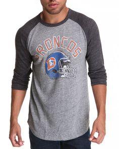 Junk Food Men Charcoal,Grey Denver Broncos L/S Tri-Blend Raglan Shirt