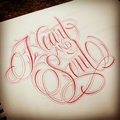 """Simply live life and do everything with your """"Heart and Soul""""!❤️ Have some free time tomorrow June 16, around noon to do some quick lettering. If interested please send me a DM and we'll get you taken care of. Thank you! #customscript #customartwork #lettering #letteringtattoo #customletteringtattoo #script #MiFamiliaTattoo #Love #Blessed #Passion #Devotion #CliffInk #HeartAndSoul"""