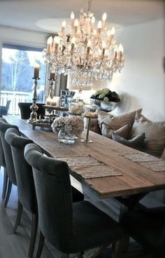 Rustic Glam Dining Room Makeover room ideas on a budget dining room ideas room ideas modern room ideas apartment room room ideas diy Dining Room Design, Dining Room Table, Dining Room With Bench, Grey Dinning Room, Classic Dining Room, Dining Area, Dining Chairs, Dining Room Inspiration, Home Fashion
